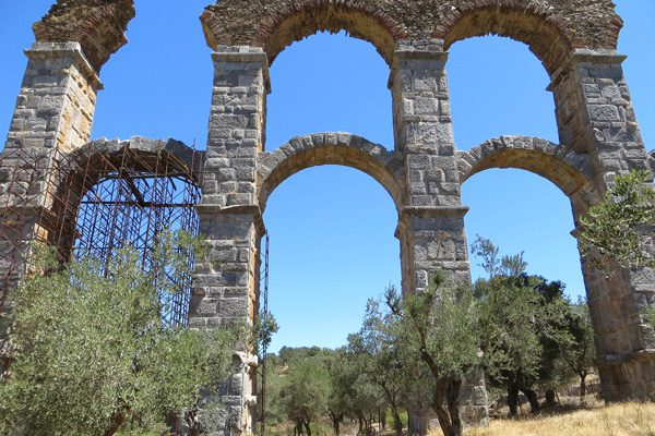 The Roman Aqueduct of Moria , Lesvos, North Aegean Islands, Greece
